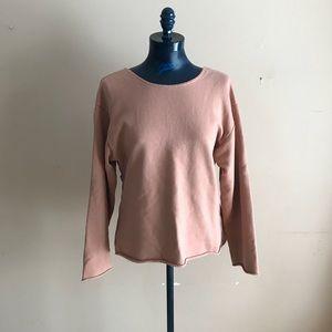 Zara Trafaluc Raw Edge Drop Wrap Back Sweatshirt